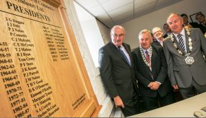 Picured at the unveiling of the Presidents Board at the Kilkenny Chamber's offices are Minister Phil Hogan T.D., Deputy Mayor Councillor Joe Reidy and Kilkenny Chamber President Donie Butler.