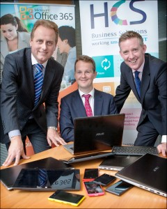 Announcing details of the HCS New World of Work training initiative (l-r) Neil Phelan, HCS, Donagh Walsh, Microsoft and Denis Meade, Microsoft.