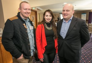 Liam Moriarty, Laura Lanigan and Stephen Kelly at the Kilkenny Chamber AGM. Photo: Pat Moore.